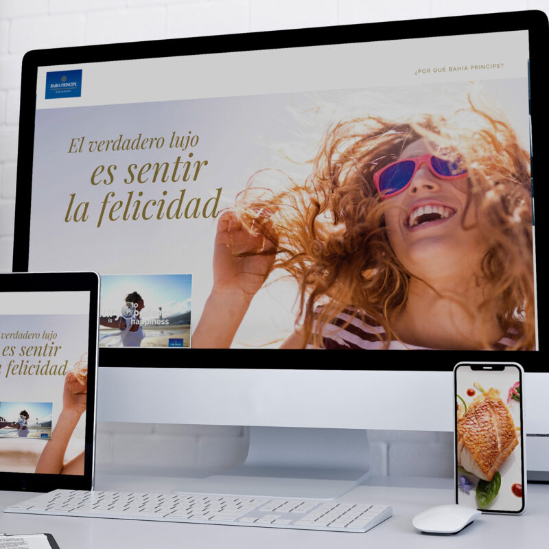 Bahia Principe. Presentación B2B. Diapositiva filosofía Sentir la felicidad.